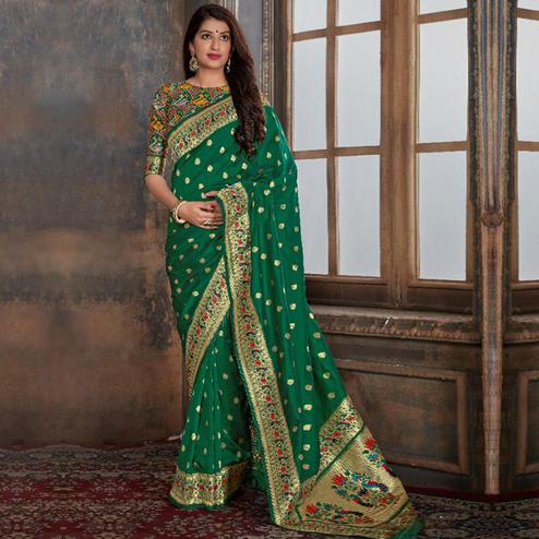 Eye-catching Green Colored Festive Wear Woven Banarasi Silk Saree