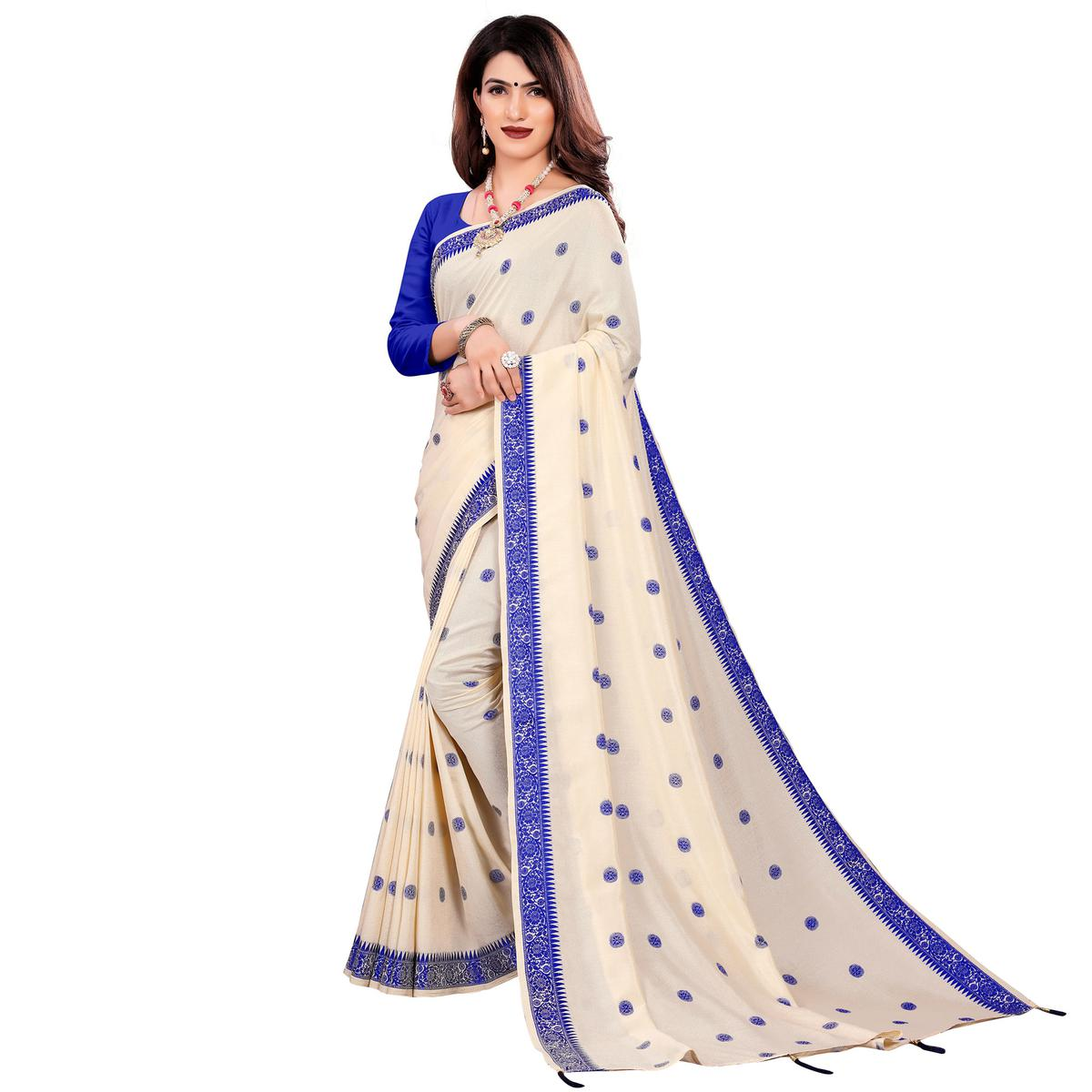 Adorable Cream Colored Casual Wear Embroidered Art Silk Saree With Tassels