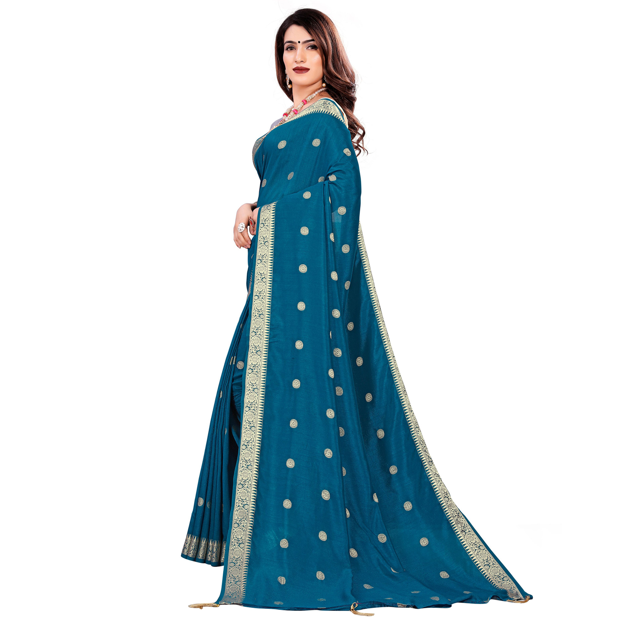 Glorious Teal Blue Colored Casual Wear Embroidered Art Silk Saree With Tassels