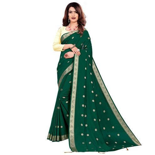 Attractive Green Colored Casual Wear Embroidered Art Silk Saree With Tassels