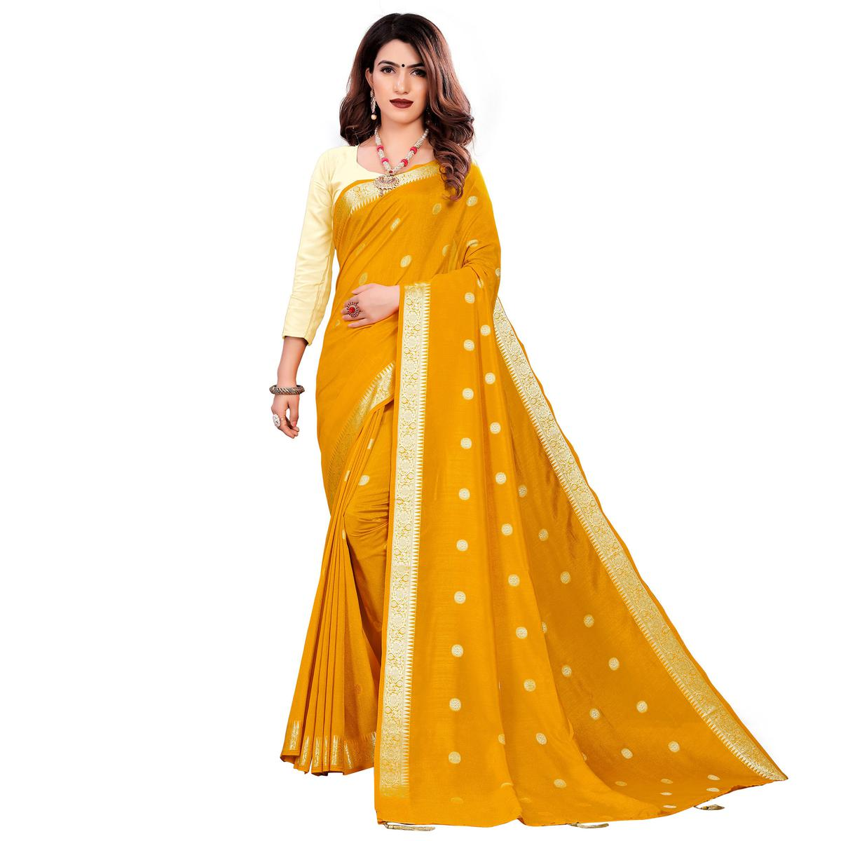 Beautiful Mustard Yellow Colored Casual Wear Embroidered Art Silk Saree With Tassels