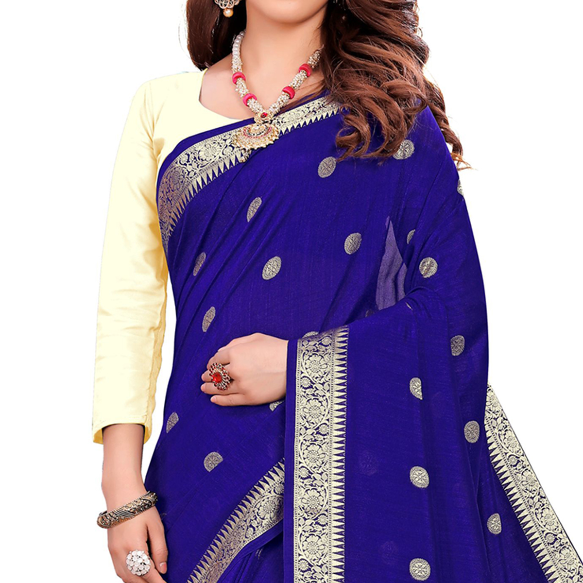 Graceful Blue Colored Casual Wear Embroidered Art Silk Saree With Tassels
