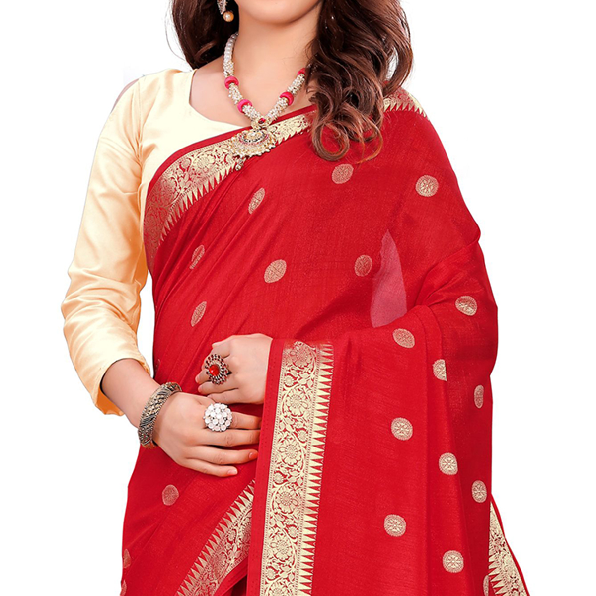 Blooming Red Colored Casual Wear Embroidered Art Silk Saree With Tassels