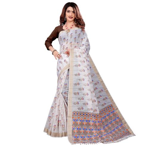 Trendy White Colored Casual Wear Printed Cotton Saree With Tassels