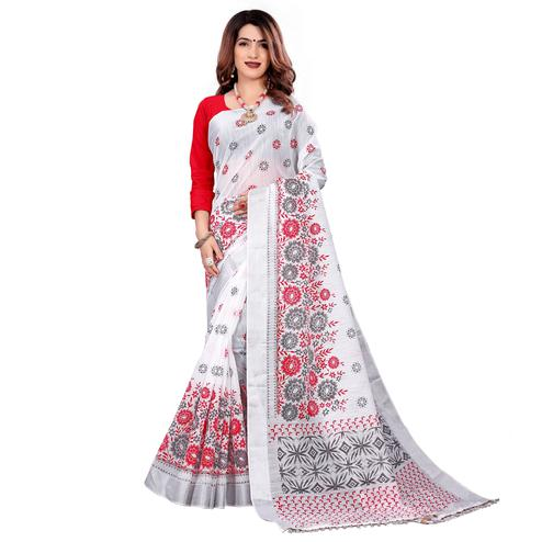 Elegant White Colored Casual Wear Printed Cotton Saree With Tassels