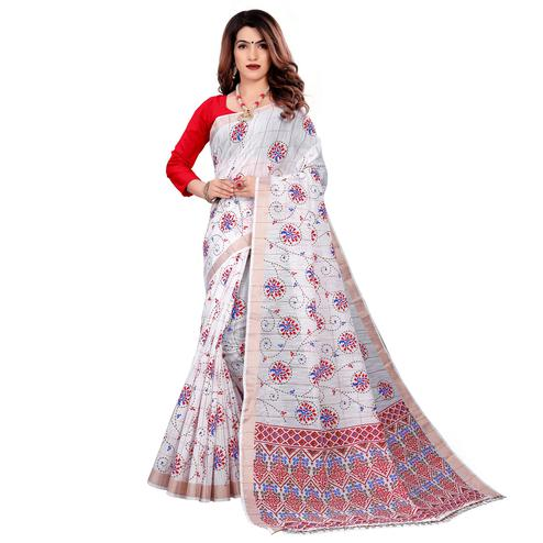 Radiant White Colored Casual Wear Printed Cotton Saree With Tassels