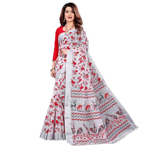 Pleasant White Colored Casual Wear Printed Cotton Saree With Tassels
