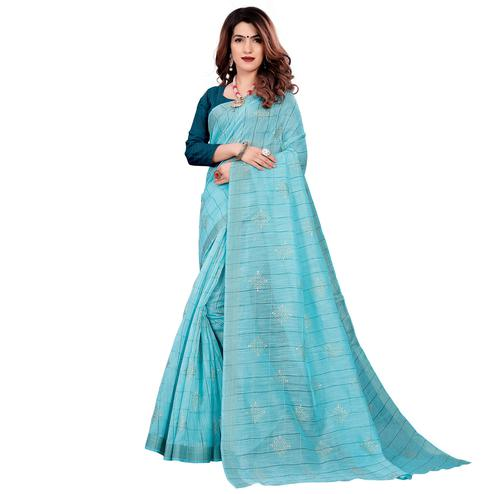 Blissful Blue Colored Casual Wear Printed Cotton Saree