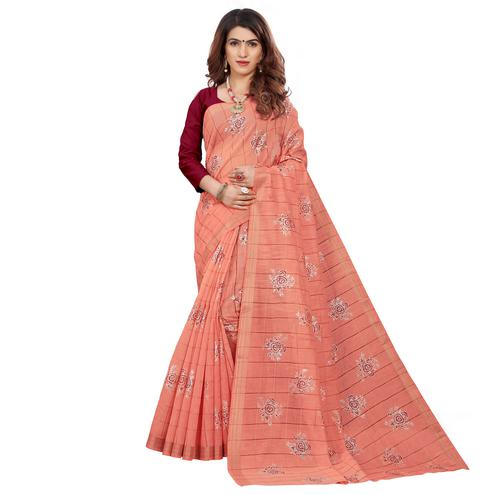 Ideal Peach Colored Casual Wear Printed Cotton Saree