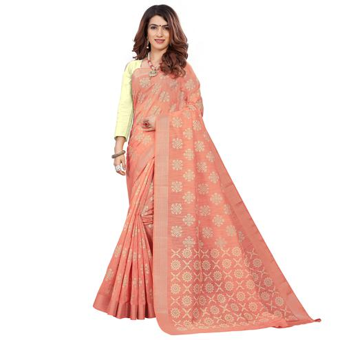 Glowing Peach Colored Casual Wear Printed Cotton Saree