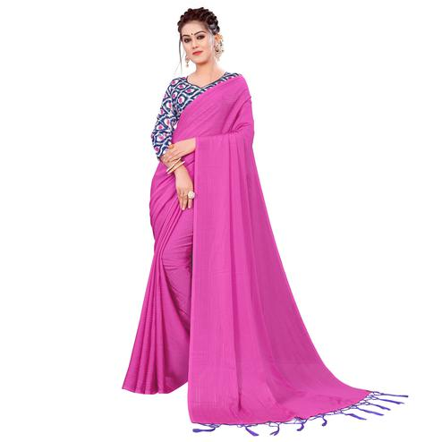 Dazzling Pink Colored Party Wear Printed Georgette Saree With Tassels