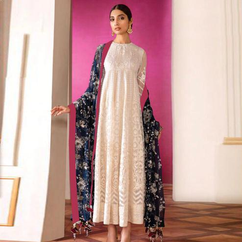 Exceptional White Colored Partywear Embroidered Georgette Anarkali Suit