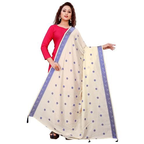 Glorious Cream Colored Festive Wear Woven Art Silk-Viscose Dupatta With Tassels