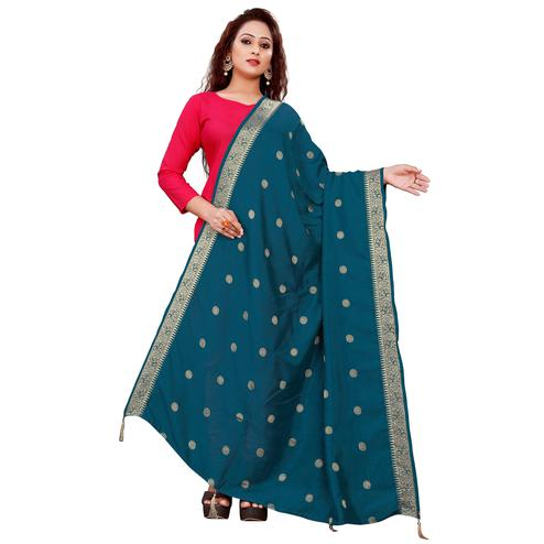Attractive Teal Blue Colored Festive Wear Woven Art Silk-Viscose Dupatta With Tassels