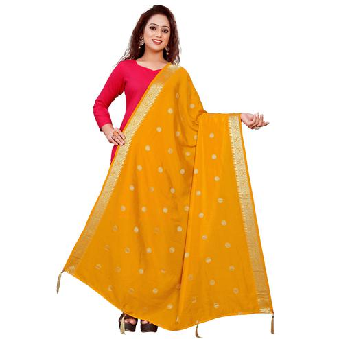 Graceful Yellow Colored Festive Wear Woven Art Silk-Viscose Dupatta With Tassels