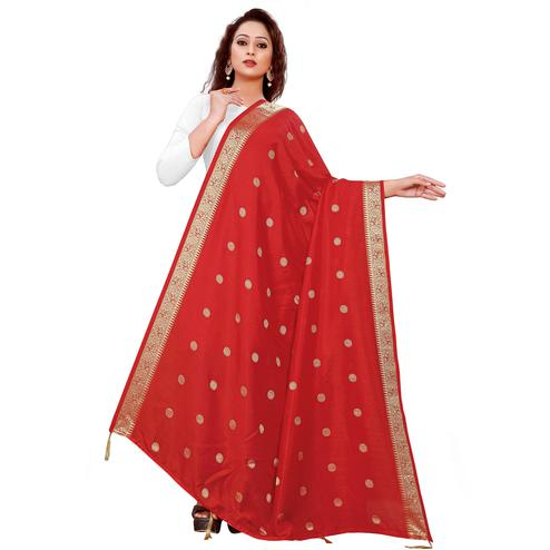 Charming Red Colored Festive Wear Woven Art Silk-Viscose Dupatta With Tassels