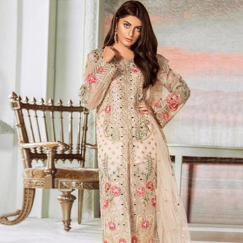 Classy Light Peach Colored Party Wear Embroidered Net Palazzo Suit