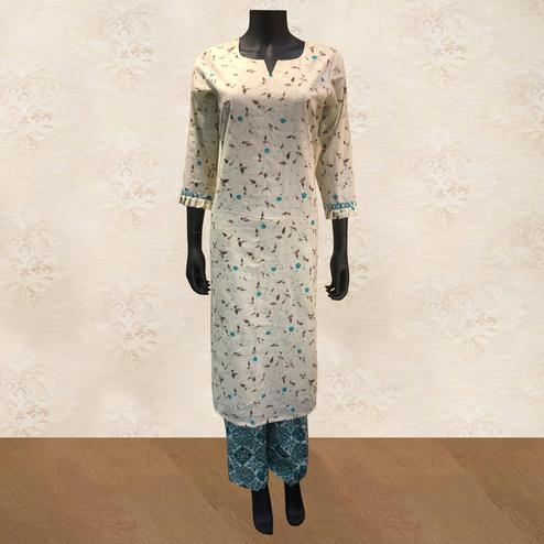 Flaunt Cream-Blue Colored Casual Floral Printed Cotton Kurti-Palazzo Set