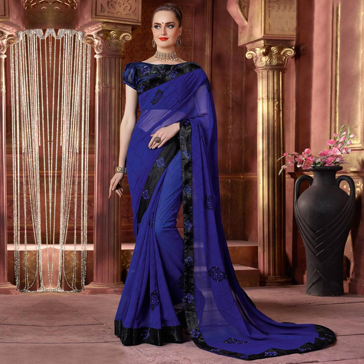 Majesty Violet Colored Partywear Printed Chiffon Saree