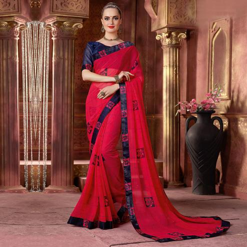 Impressive Pink Colored Partywear Printed Chiffon Saree