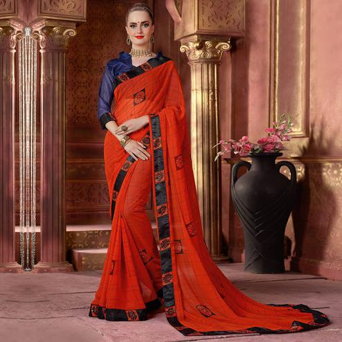 Pleasance Orange Colored Partywear Printed Chiffon Saree