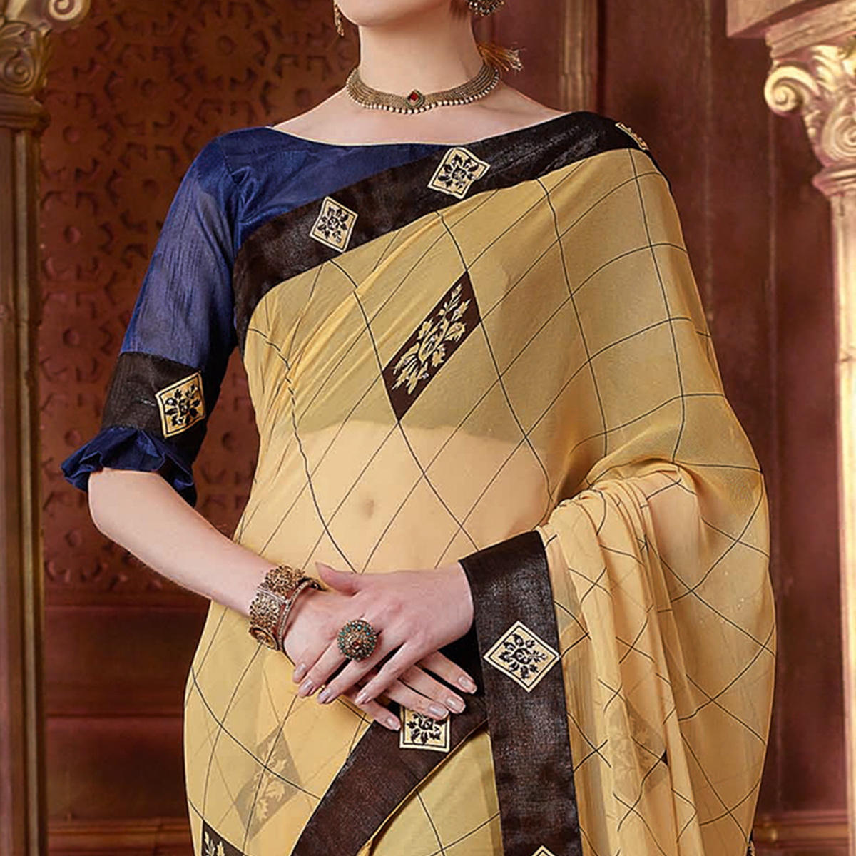 Ethnic Beige Colored Partywear Printed Chiffon Saree