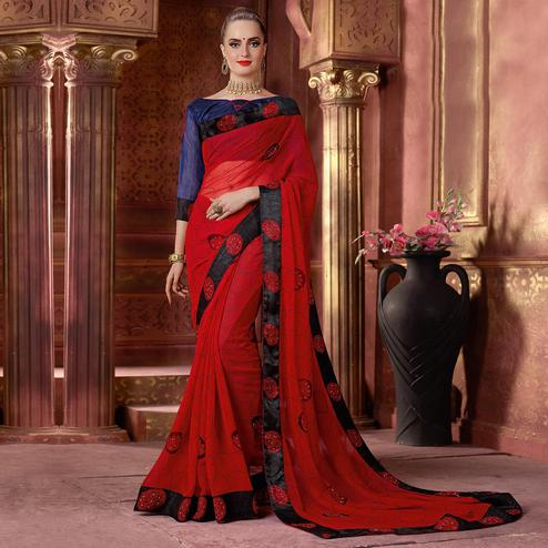 Ravishing Red Colored Partywear Printed Chiffon Saree