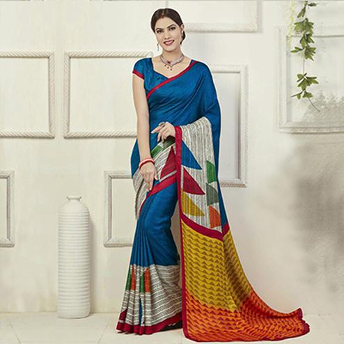 Blue Geometric Design Art Silk Saree