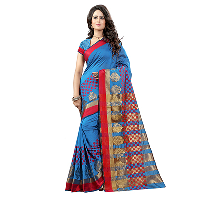 Blue Tussar Silk Traditional Saree