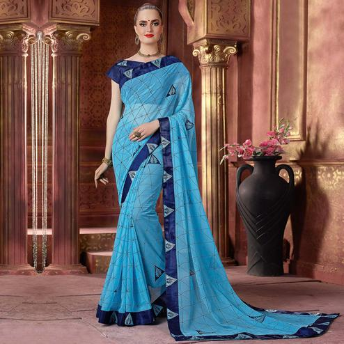 Staring Sky Blue Colored Partywear Printed Chiffon Saree