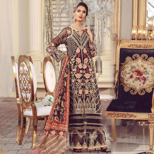 Opulent Black Colored Partywear Embroidered Georgette Palazzo Suit