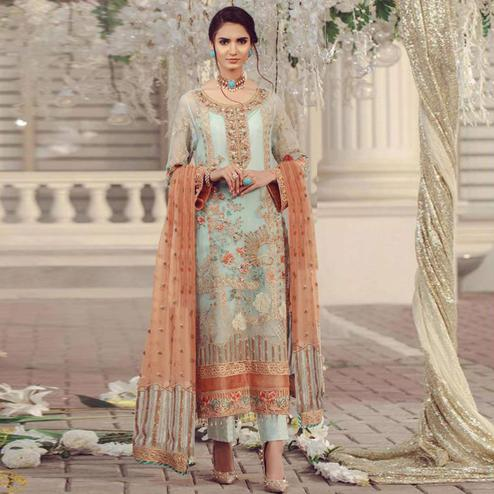 Energetic Light Blue Colored Partywear Embroidered Georgette Suit