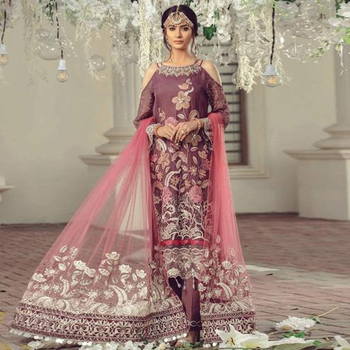 Exceptional Wine Colored Partywear Embroidered Georgette Suit