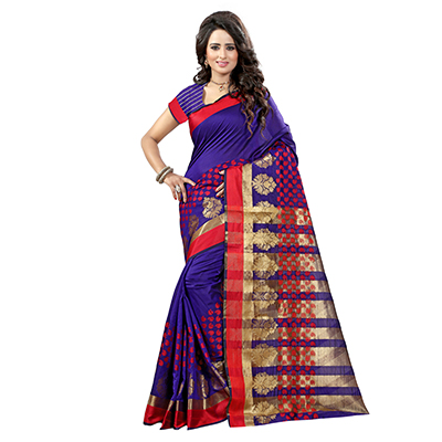 Purple Tussar Silk Zari Woven Saree