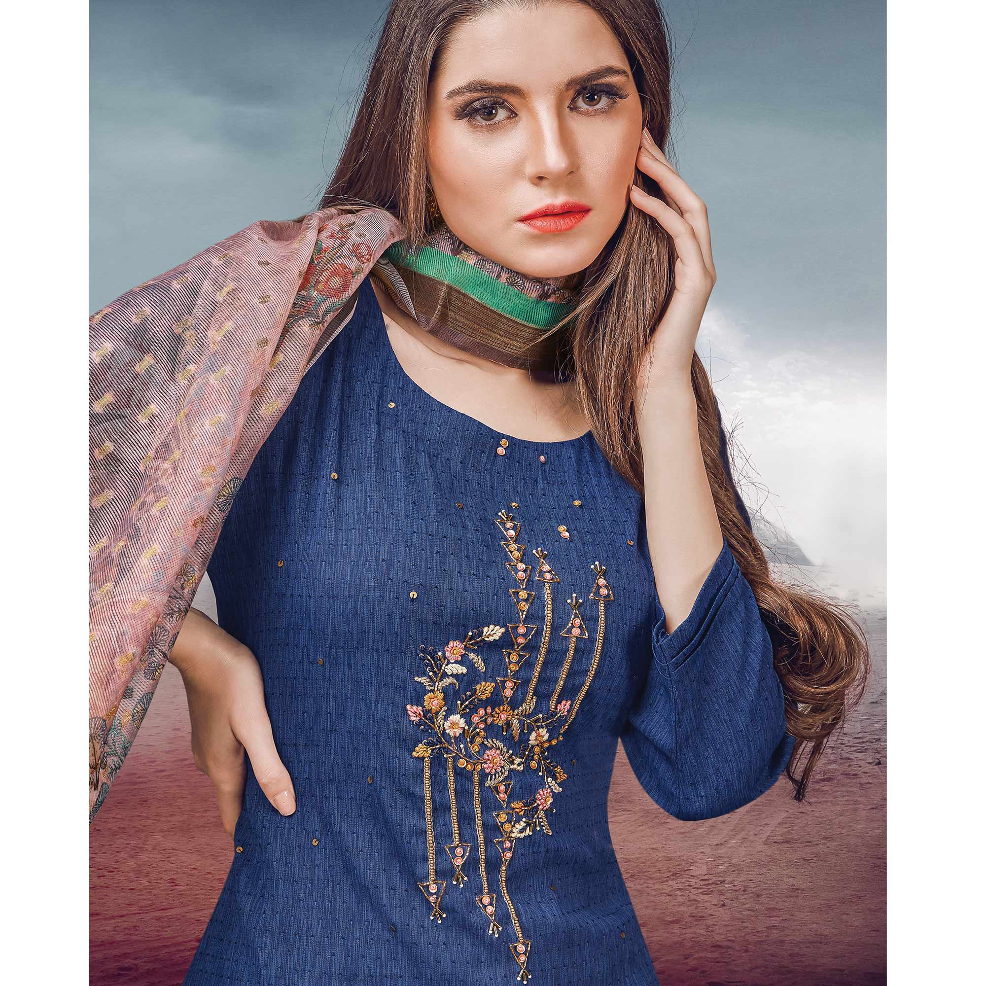 Glorious Blue Colored Party Wear Embroidered Rayon Kurti-Palazzo Set