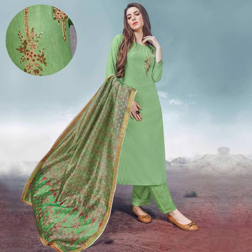 Attractive Green Colored Party Wear Embroidered Rayon Kurti-Palazzo Set