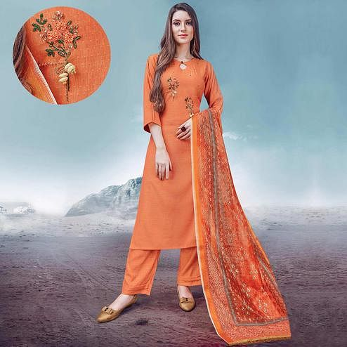Beautiful Orange Colored Party Wear Embroidered Rayon Kurti-Palazzo Set