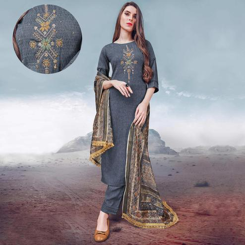 Graceful Grey Colored Party Wear Embroidered Rayon Kurti-Palazzo Set