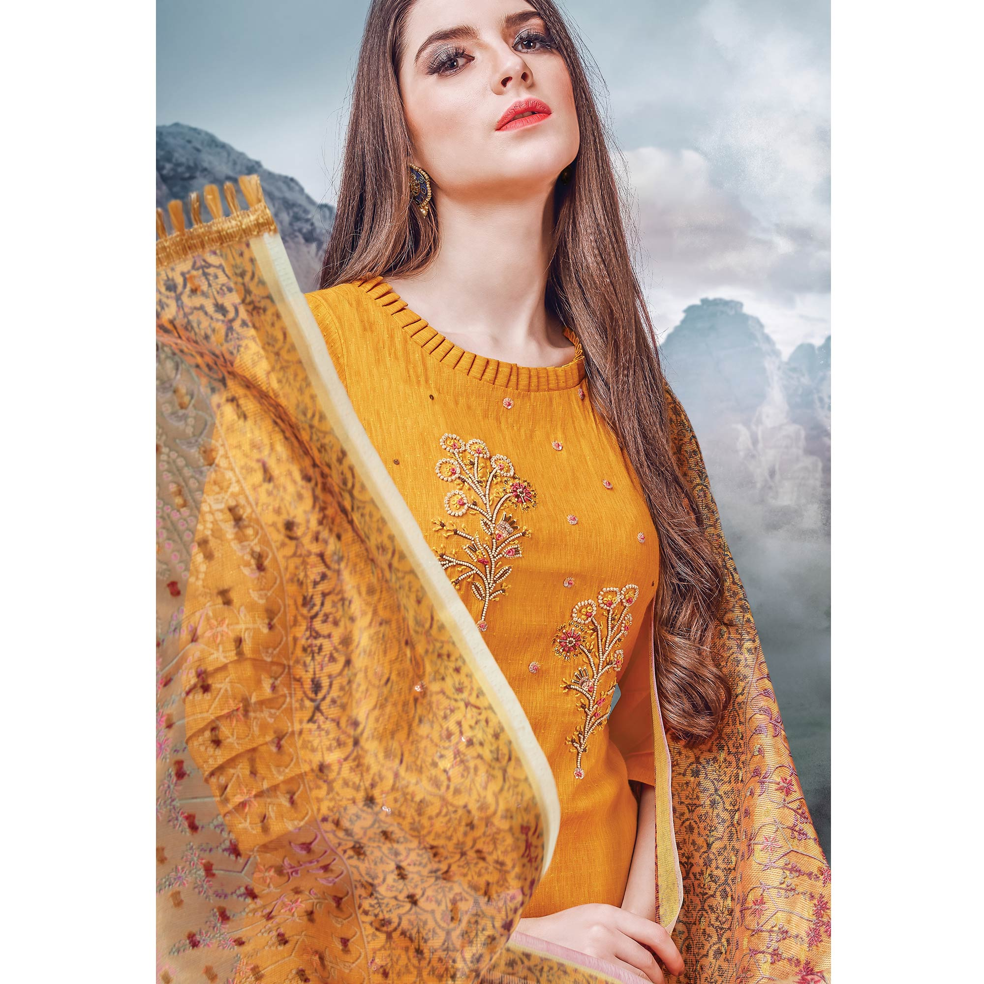 Blooming Mustard Colored Party Wear Embroidered Rayon Kurti-Palazzo Set