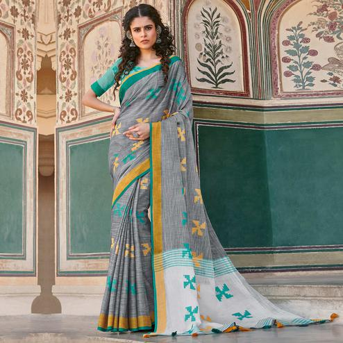 Refreshing Grey Colored Casual Printed Linen Cotton Saree With Tassels