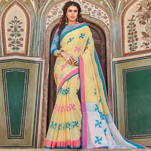 Magnetic Yellow Colored Casual Printed Linen Cotton Saree With Tassels