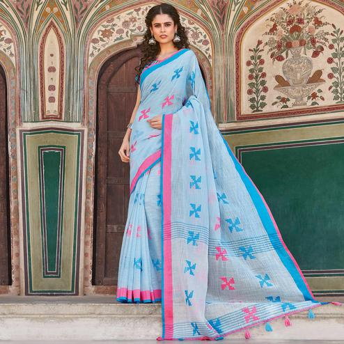 Hypnotic Light Blue Colored Casual Printed Linen Cotton Saree With Tassels