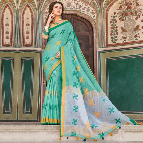 Flattering Turquoise Green Colored Casual Printed Linen Cotton Saree With Tassels