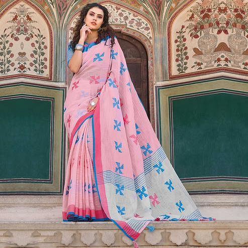 Preferable Pink Colored Casual Printed Linen Cotton Saree With Tassels