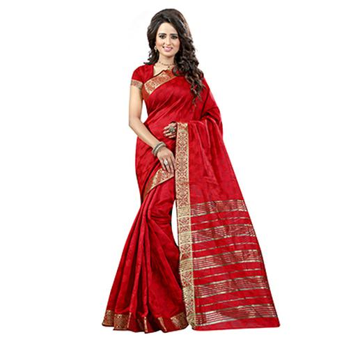 Red Party Wear Cotton Silk Saree