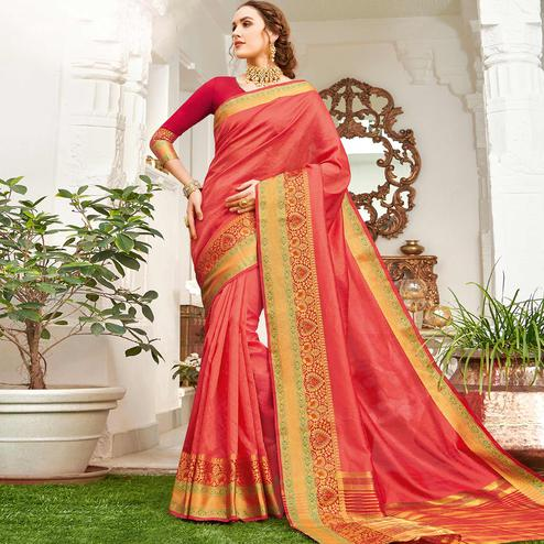 Imposing Pink Colored Festive Wear Woven Handloom Silk Saree