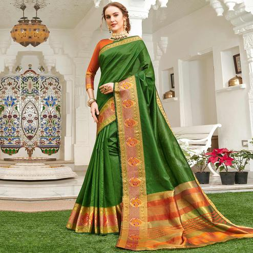 Majesty Dark Green Colored Festive Wear Woven Handloom Silk Saree