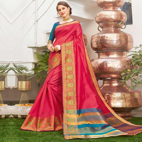 Impressive Red Colored Festive Wear Woven Handloom Silk Saree