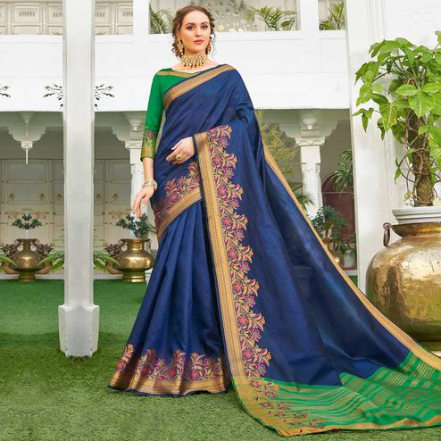 Mesmerising Navy Blue Colored Festive Wear Woven Handloom Silk Saree