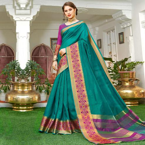 Fantastic Teal Green Colored Festive Wear Woven Handloom Silk Saree